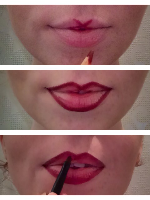 Outline lips starting from cupids bow